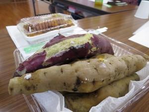 ふかしたサツマイモとカボチャの煮つけ